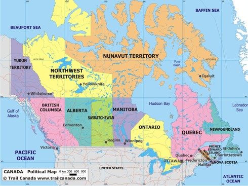 Political canada map political map of canada gumiabroncs Images