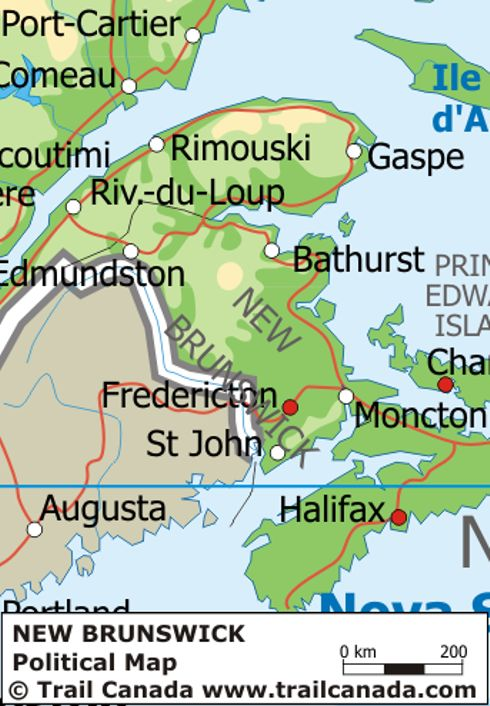 Physical Map of New Brunswick Canada