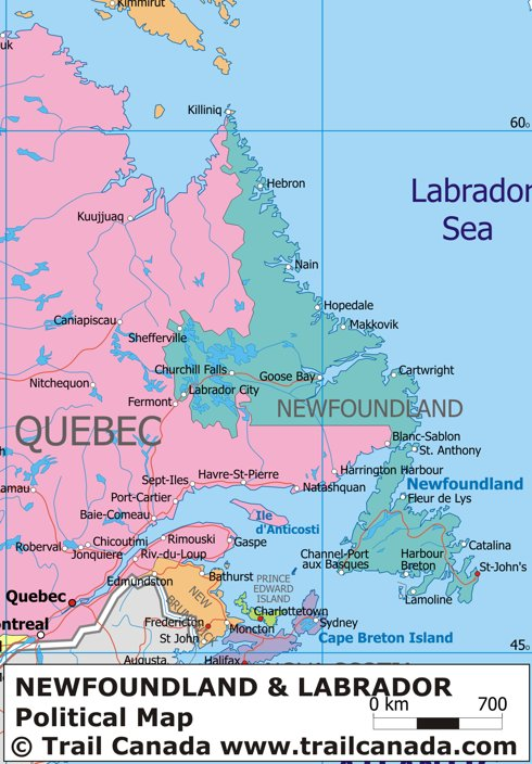 Political Map Of Newfoundland And Labrador Canada - Map of newfoundland