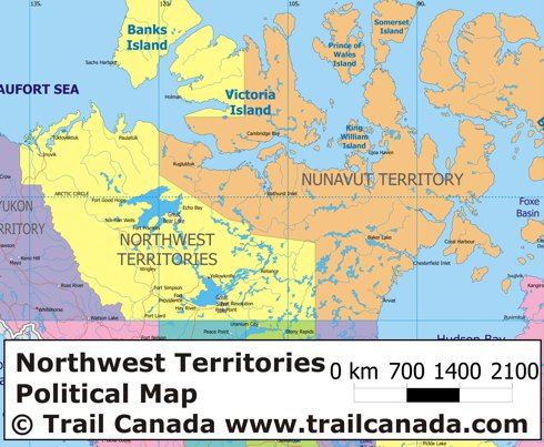 Physical Map of Northwest Territories Canada