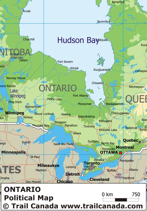 Physical Map Of Ontario Canada