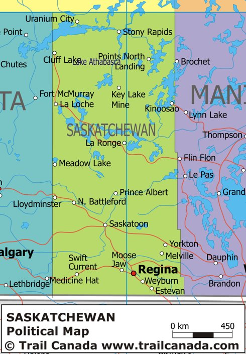 Political Map of Saskatchewan Canada