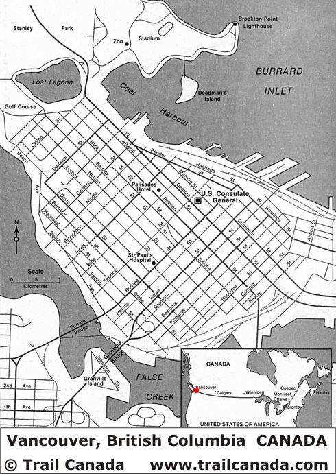 City Map of Vancouver British Columbia Canada