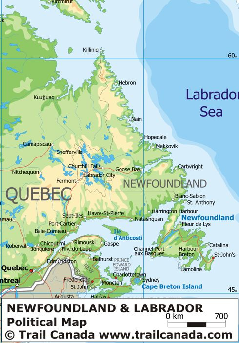 Physical Map of Newfoundland and Labrador, Canada