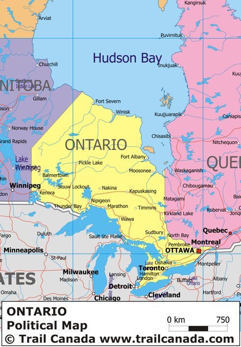 Political Map Of Ontario Canada.Political Map Of Ontario Canada