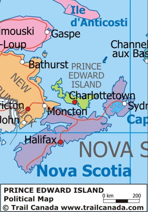 Islands Of Canada Map.Political Map Of Prince Edward Island Canada