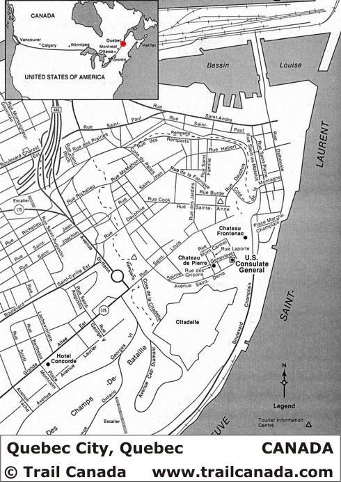 City Map of Quebec City Quebec, Canada